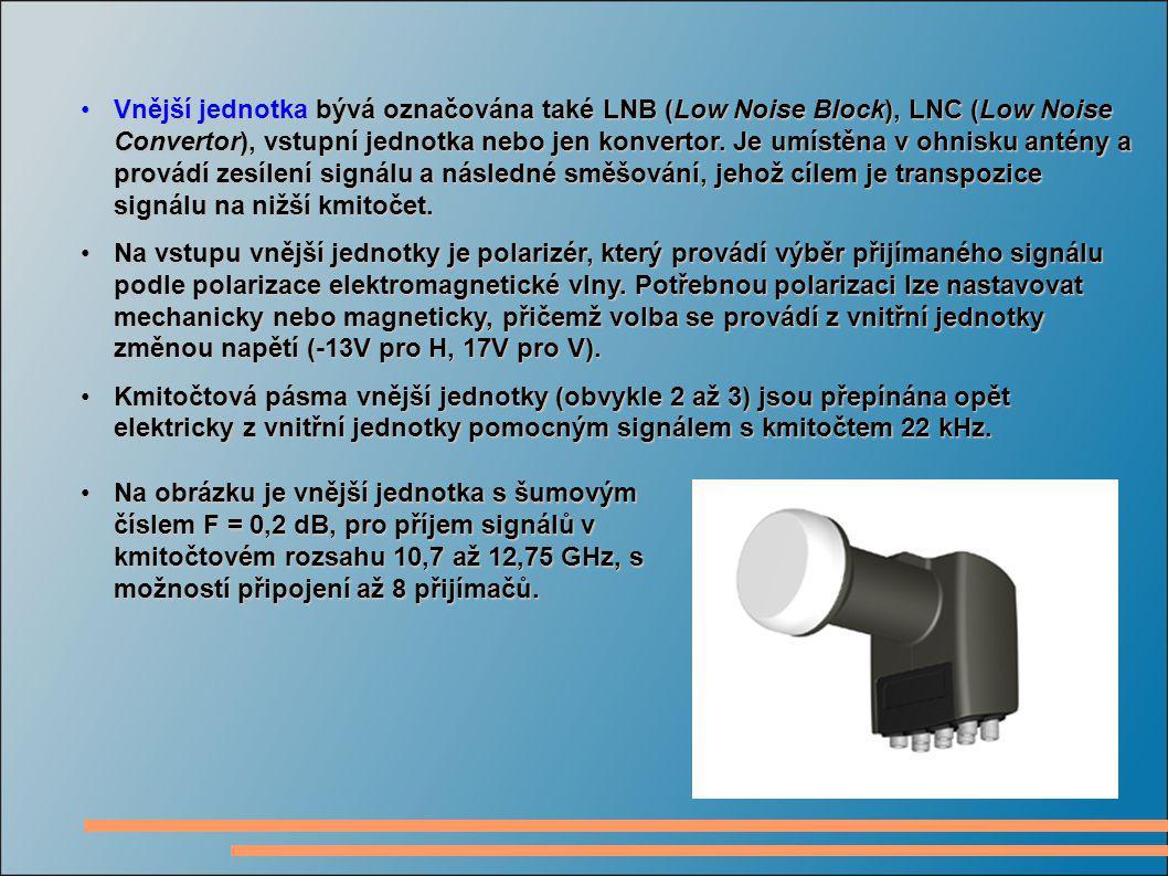 Vnější jednotka bývá označována také LNB (Low Noise Block), LNC (Low Noise Convertor), vstupní jednotka nebo jen konvertor. Je umístěna v ohnisku anté