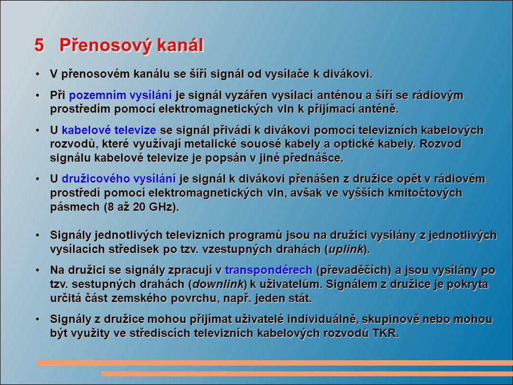 5 Přenosový kanál V přenosovém kanálu se šíří signál od vysílače k divákovi.V přenosovém kanálu se šíří signál od vysílače k divákovi. Při pozemním vy