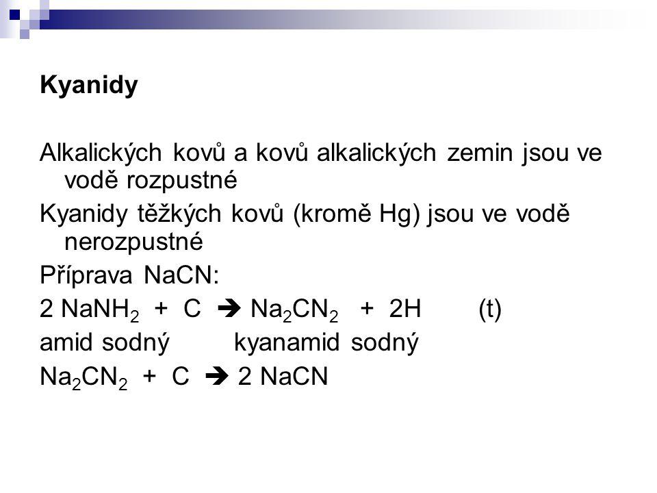 Kyanidy Alkalických kovů a kovů alkalických zemin jsou ve vodě rozpustné Kyanidy těžkých kovů (kromě Hg) jsou ve vodě nerozpustné Příprava NaCN: 2 NaN