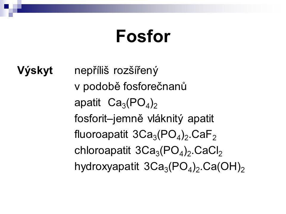 Fosfor Výskytnepříliš rozšířený v podobě fosforečnanů apatit Ca 3 (PO 4 ) 2 fosforit–jemně vláknitý apatit fluoroapatit 3Ca 3 (PO 4 ) 2.CaF 2 chloroap