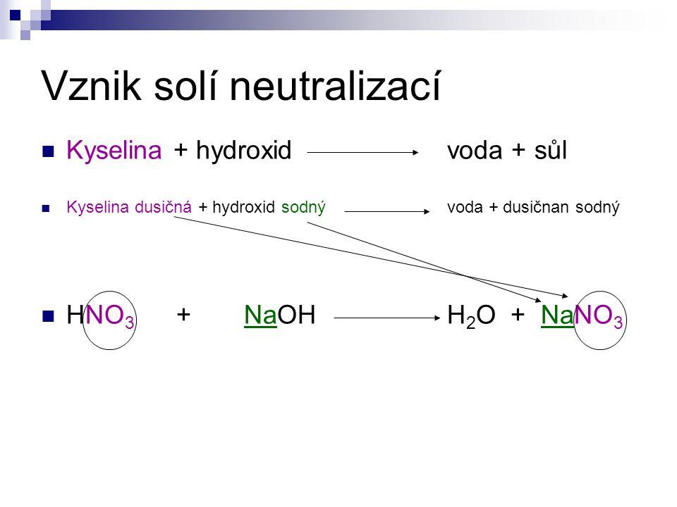 Vznik solí neutralizací Kyselina + hydroxid voda + sůl Kyselina dusičná + hydroxid sodnývoda + dusičnan sodný HNO 3 + NaOHH 2 O + NaNO 3