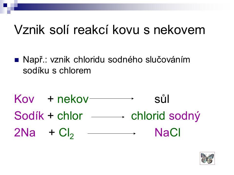 Vznik solí reakcí kovu s nekovem Např.: vznik chloridu sodného slučováním sodíku s chlorem Kov + nekovsůl Sodík + chlor chlorid sodný 2Na + Cl 2 NaCl