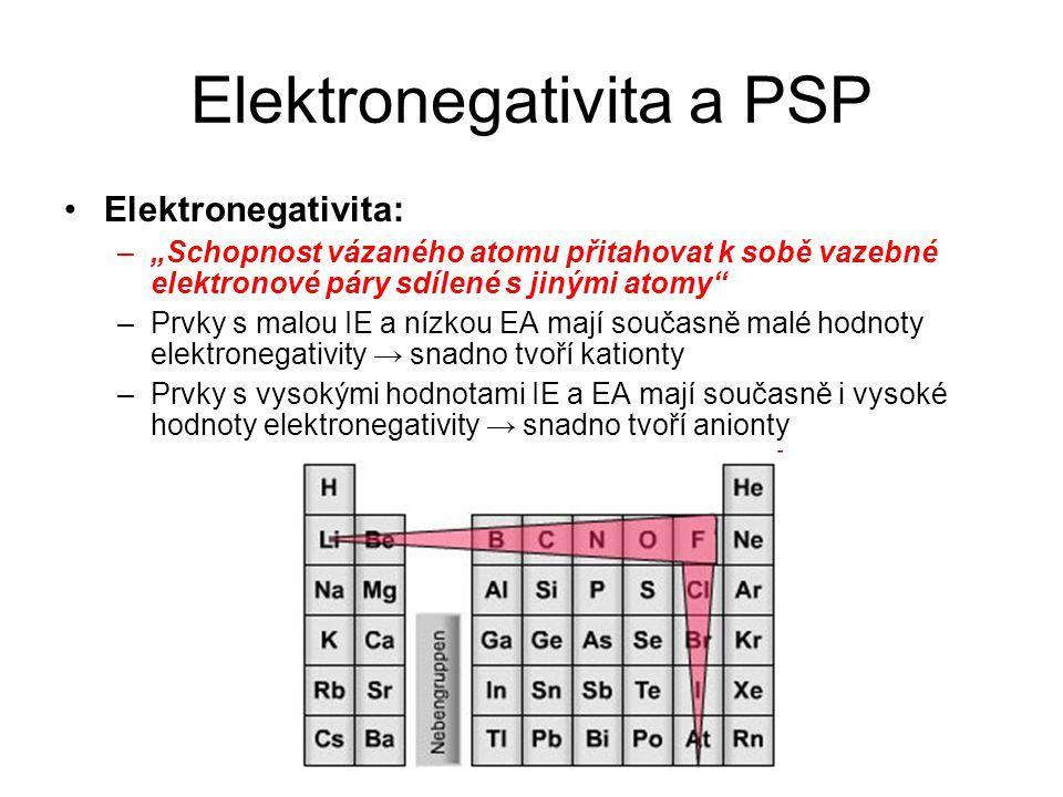 """Elektronegativita a PSP Elektronegativita: –""""Schopnost vázaného atomu přitahovat k sobě vazebné elektronové páry sdílené s jinými atomy –Prvky s malou IE a nízkou EA mají současně malé hodnoty elektronegativity → snadno tvoří kationty –Prvky s vysokými hodnotami IE a EA mají současně i vysoké hodnoty elektronegativity → snadno tvoří anionty"""