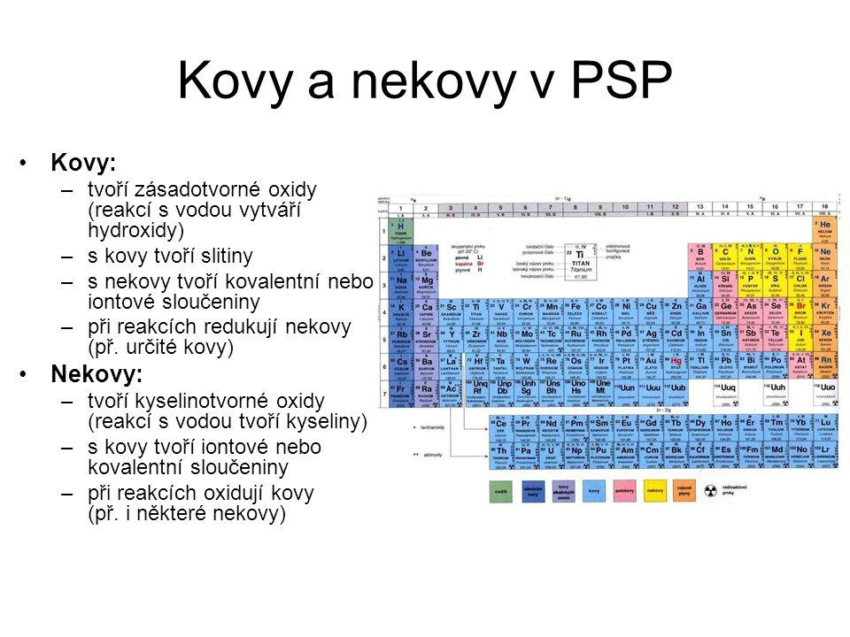 Kovy a nekovy v PSP Kovy: –tvoří zásadotvorné oxidy (reakcí s vodou vytváří hydroxidy) –s kovy tvoří slitiny –s nekovy tvoří kovalentní nebo iontové sloučeniny –při reakcích redukují nekovy (př.