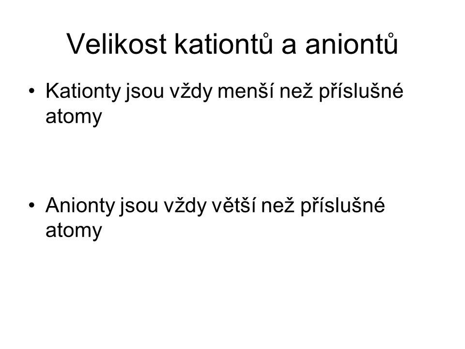 Velikost kationtů a aniontů Kationty jsou vždy menší než příslušné atomy Anionty jsou vždy větší než příslušné atomy