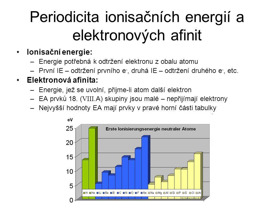 Periodicita ionisačních energií a elektronových afinit Ionisační energie: –Energie potřebná k odtržení elektronu z obalu atomu –První IE – odtržení prvního e -, druhá IE – odtržení druhého e -, etc.