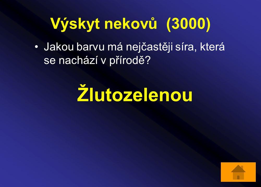 Výskyt nekovů (3000) Jakou barvu má nejčastěji síra, která se nachází v přírodě? Žlutozelenou