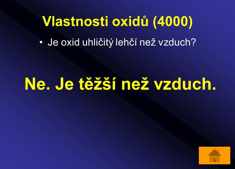 Vlastnosti oxidů (4000) Je oxid uhličitý lehčí než vzduch? Ne. Je těžší než vzduch.