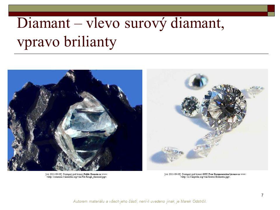 Autorem materiálu a všech jeho částí, není-li uvedeno jinak, je Marek Odstrčil. 7 Diamant – vlevo surový diamant, vpravo brilianty [cit. 2011-09-06].