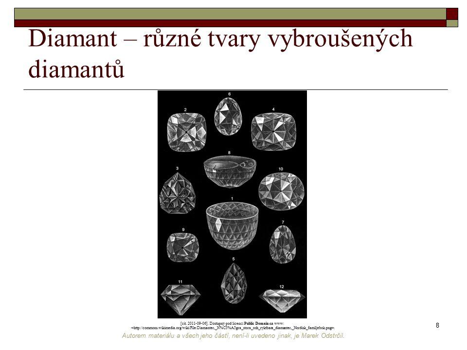 Autorem materiálu a všech jeho částí, není-li uvedeno jinak, je Marek Odstrčil. 8 Diamant – různé tvary vybroušených diamantů [cit. 2011-09-06]. Dostu