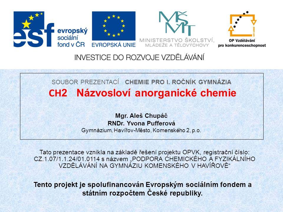 Cvičení 9: Napiš vzorce kyselin kyselina chlorná kyselina uhličitá kyselina chromitá kyselina dusičná kyselina manganistá kyselina chromová