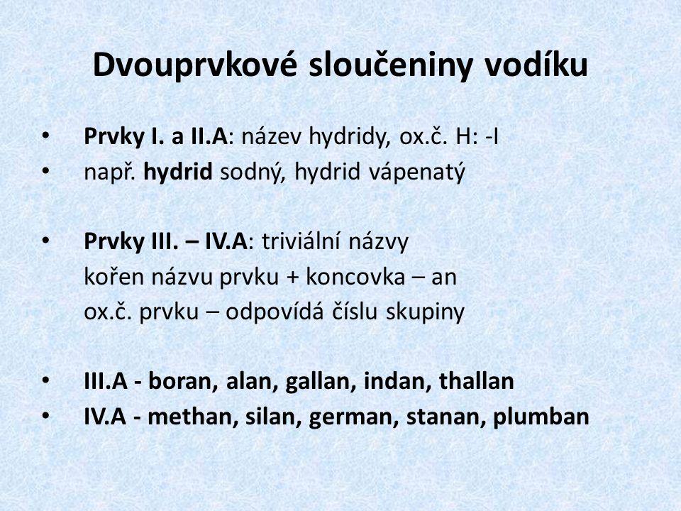 Dvouprvkové sloučeniny vodíku Prvky I.a II.A: název hydridy, ox.č.