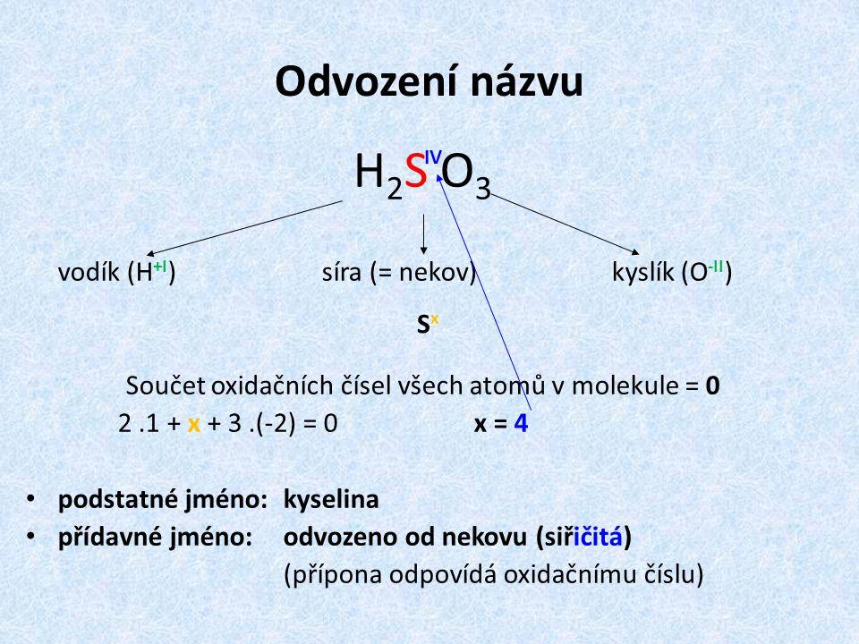 Odvození názvu H2S O3H2S O3 vodík (H +I ) síra (= nekov) kyslík (O -II ) Součet oxidačních čísel všech atomů v molekule = 0 2.1 + x + 3.(-2) = 0 x = 4 podstatné jméno: kyselina přídavné jméno:odvozeno od nekovu (siřičitá) (přípona odpovídá oxidačnímu číslu) IV S x