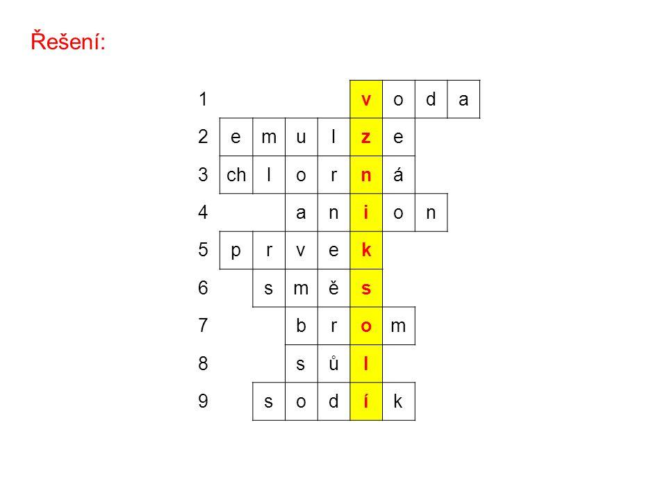 Řešení: 1voda 2emulze 3chlorná 4anion 5prvek 6směs 7brom 8sůl 9sodík