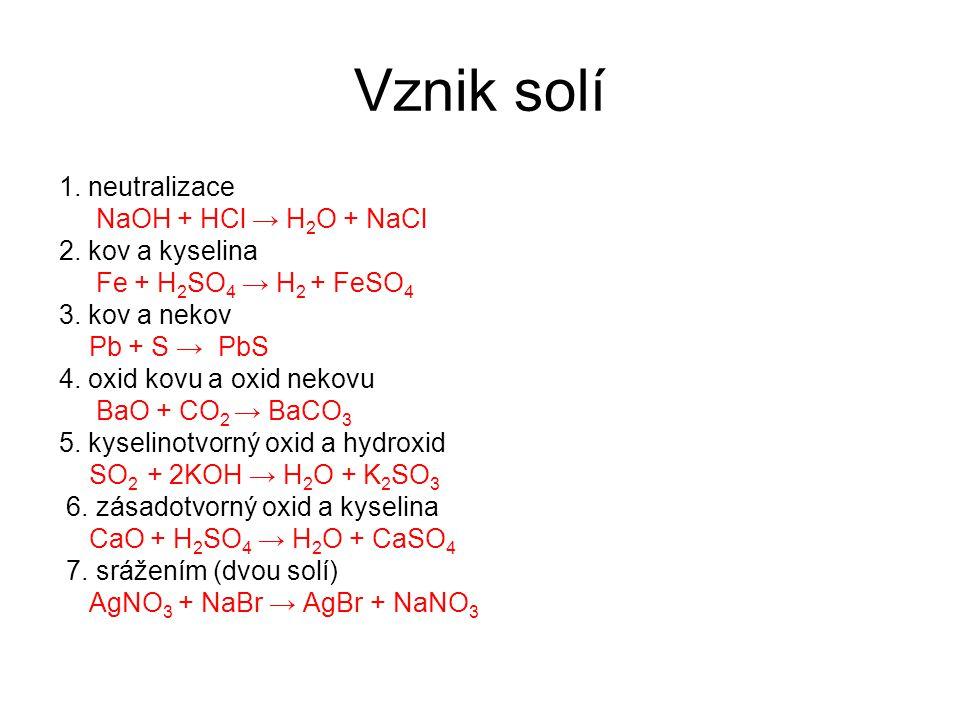 Vznik solí 1. neutralizace NaOH + HCl → H 2 O + NaCl 2.