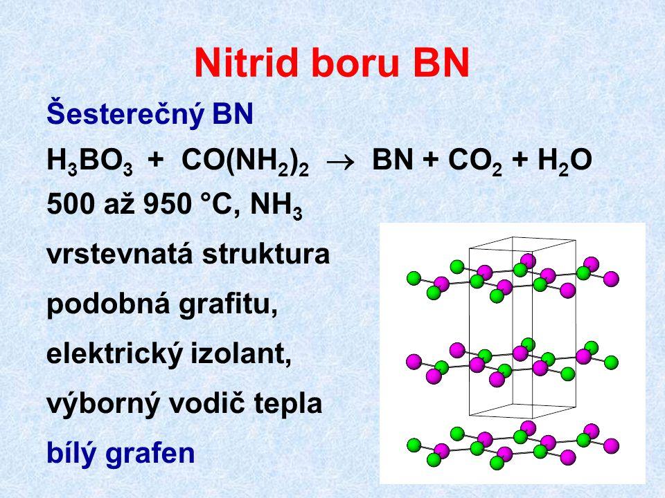 Nitrid boru BN Šesterečný BN H 3 BO 3 + CO(NH 2 ) 2  BN + CO 2 + H 2 O 500 až 950 °C, NH 3 vrstevnatá struktura podobná grafitu, elektrický izolant,