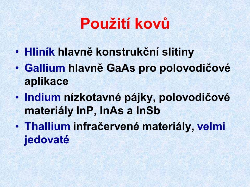 Použití kovů Hliník hlavně konstrukční slitiny Gallium hlavně GaAs pro polovodičové aplikace Indium nízkotavné pájky, polovodičové materiály InP, InAs