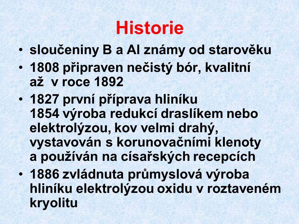 Historie sloučeniny B a Al známy od starověku 1808 připraven nečistý bór, kvalitní až v roce 1892 1827 první příprava hliníku 1854 výroba redukcí dras