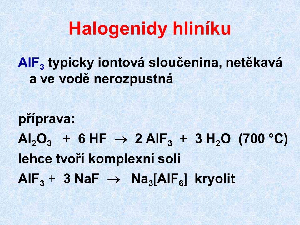 Halogenidy hliníku AlF 3 typicky iontová sloučenina, netěkavá a ve vodě nerozpustná příprava: Al 2 O 3 + 6 HF  2 AlF 3 + 3 H 2 O (700 °C) lehce tvoří