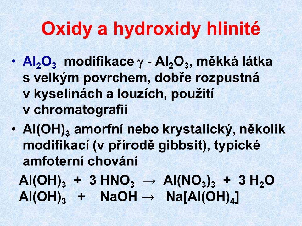 Oxidy a hydroxidy hlinité Al 2 O 3 modifikace γ - Al 2 O 3, měkká látka s velkým povrchem, dobře rozpustná v kyselinách a louzích, použití v chromatog