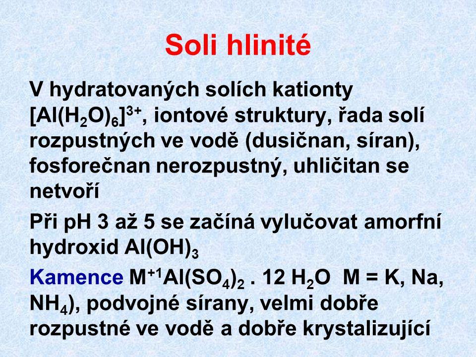Soli hlinité V hydratovaných solích kationty [Al(H 2 O) 6 ] 3+, iontové struktury, řada solí rozpustných ve vodě (dusičnan, síran), fosforečnan nerozp