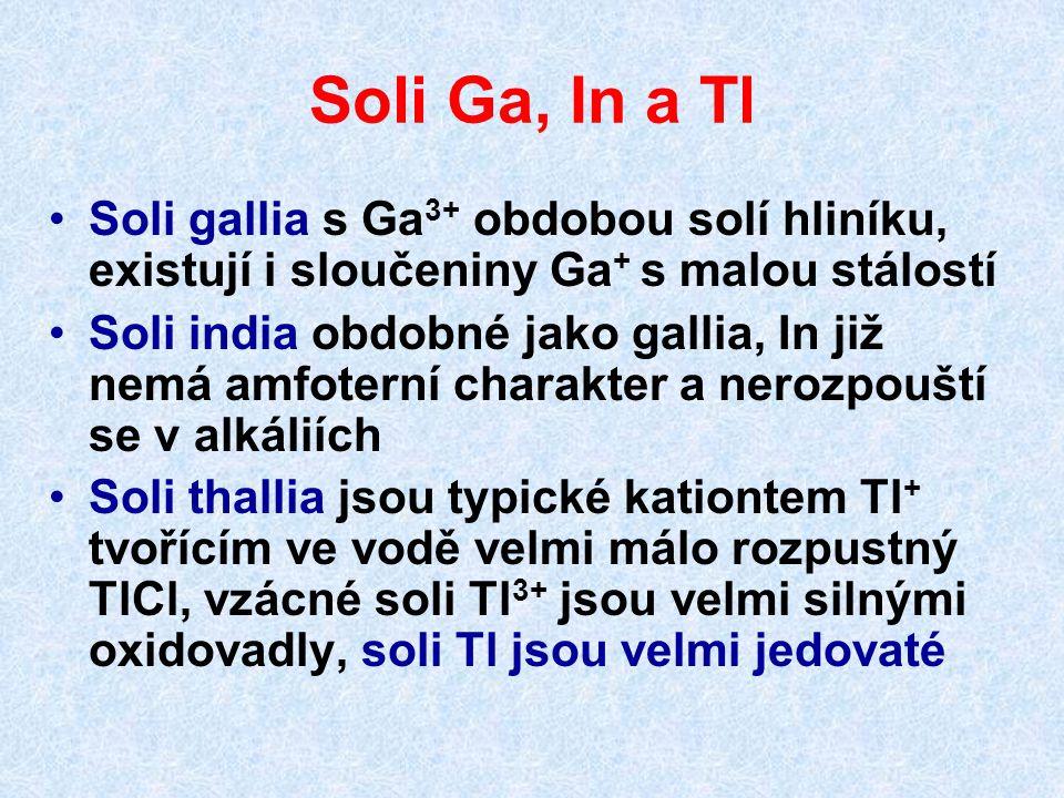 Soli Ga, In a Tl Soli gallia s Ga 3+ obdobou solí hliníku, existují i sloučeniny Ga + s malou stálostí Soli india obdobné jako gallia, In již nemá amf