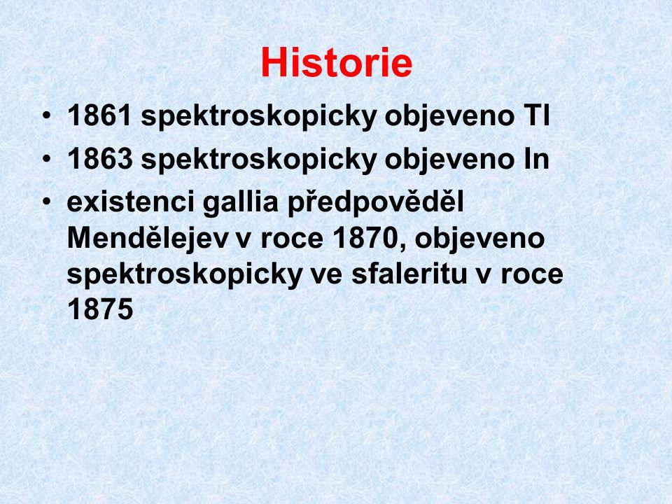 Historie 1861 spektroskopicky objeveno Tl 1863 spektroskopicky objeveno In existenci gallia předpověděl Mendělejev v roce 1870, objeveno spektroskopic