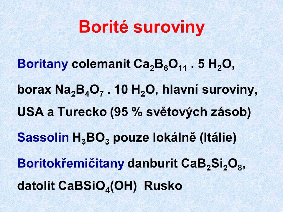 Bor Velmi obtížná příprava v čistém stavu redukcí oxidu hliníkem, chloridu zinkem nebo (nejčistší) bromidu vodíkem na žhaveném vlákně 2 BBr 3 + 3 H 2 → 2 B + 6 HBr několik alotropických krystalických fází, nemají praktický význam Bor přímo reaguje s F a za vyšší teploty i s dalšími halogeny a nekovy, ne s H 2