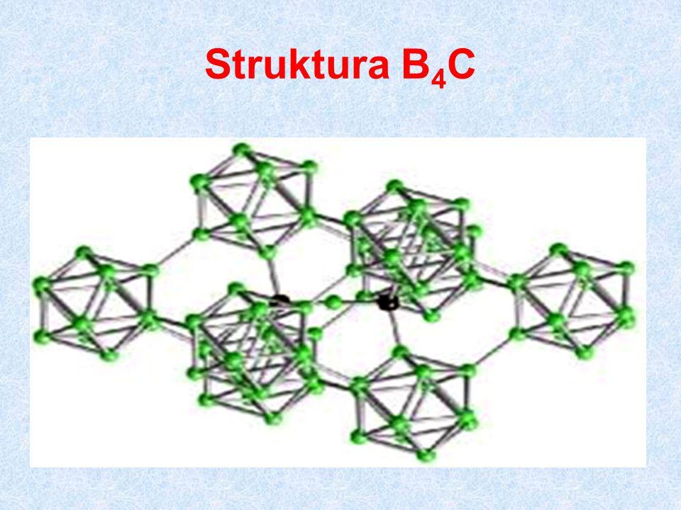 Halogenidy boru Reakce BF 3 NaF + BF 3  Na[BF 4 ] BF 4 - izostrukturní s CH 4 BF 3 + NH 3  BF 3 ·NH 3 BF 3 + H 2 O  H[BF 3 (OH)] Reakce BCl 3 (obdobně BBr 3 a BI 3 ) BCl 3 + 3 H 2 O  H 3 BO 3 + 3 HCl použití: Friedel-Craftsovy syntézy