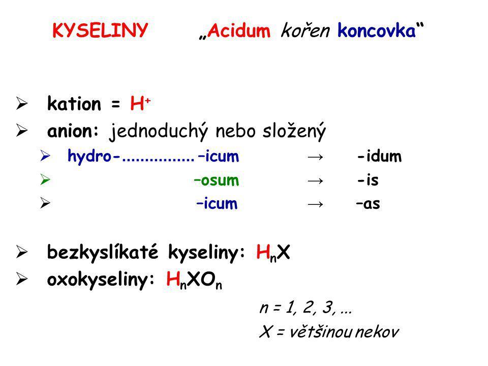 "KYSELINY""Acidum kořen koncovka""  kation = H +  anion: jednoduchý nebo složený  hydro-................ –icum → -idum  –osum → -is  –icum → –as  b"
