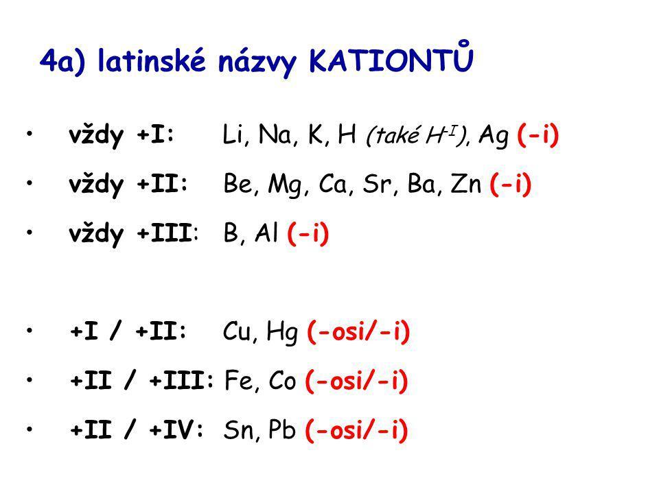 4a) latinské názvy KATIONTŮ vždy +I: Li, Na, K, H (také H -I ), Ag (-i) vždy +II: Be, Mg, Ca, Sr, Ba, Zn (-i) vždy +III: B, Al (-i) +I / +II: Cu, Hg (