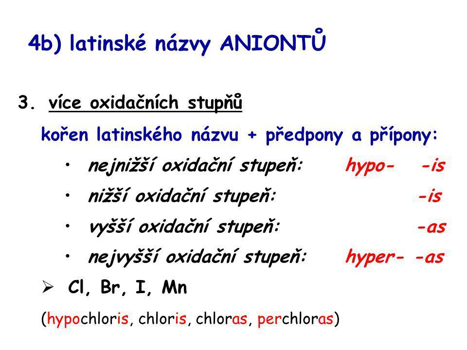 4b) latinské názvy ANIONTŮ 3.více oxidačních stupňů kořen latinského názvu + předpony a přípony: nejnižší oxidační stupeň: hypo- -is nižší oxidační st