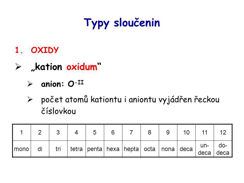"""Typy sloučenin 1.OXIDY  """"kation oxidum""""  anion: O -II  počet atomů kationtu i aniontu vyjádřen řeckou číslovkou 123456789101112 monoditritetrapenta"""