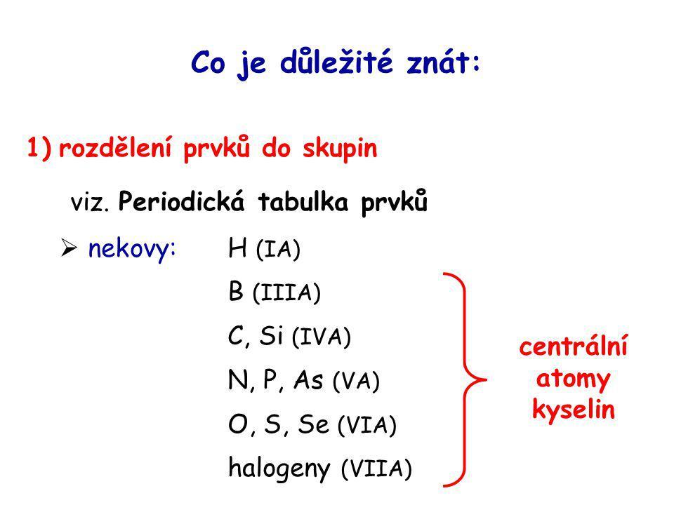 Co je důležité znát: 1) rozdělení prvků do skupin viz. Periodická tabulka prvků  nekovy: H (IA) B (IIIA) C, Si (IVA) N, P, As (VA) O, S, Se (VIA) hal