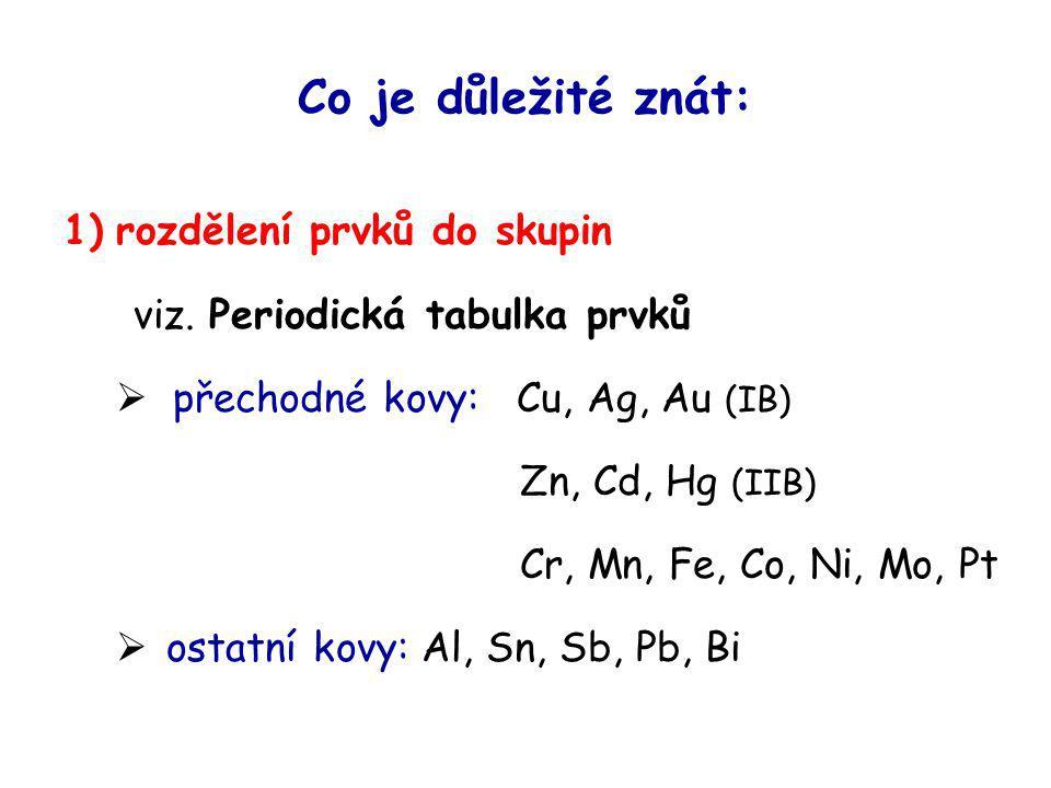 Co je důležité znát: 1) rozdělení prvků do skupin viz. Periodická tabulka prvků  přechodné kovy: Cu, Ag, Au (IB) Zn, Cd, Hg (IIB) Cr, Mn, Fe, Co, Ni,