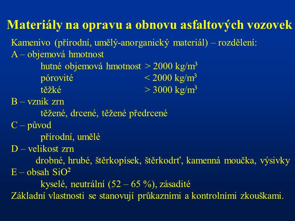 Materiály na opravu a obnovu asfaltových vozovek Kamenivo (přírodní, umělý-anorganický materiál) – rozdělení: A – objemová hmotnost hutné objemová hmo