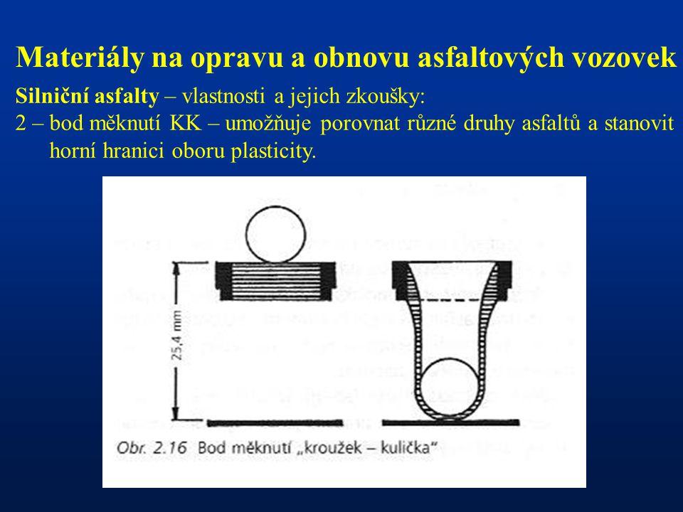 Materiály na opravu a obnovu asfaltových vozovek Silniční asfalty – vlastnosti a jejich zkoušky: 2 – bod měknutí KK – umožňuje porovnat různé druhy as