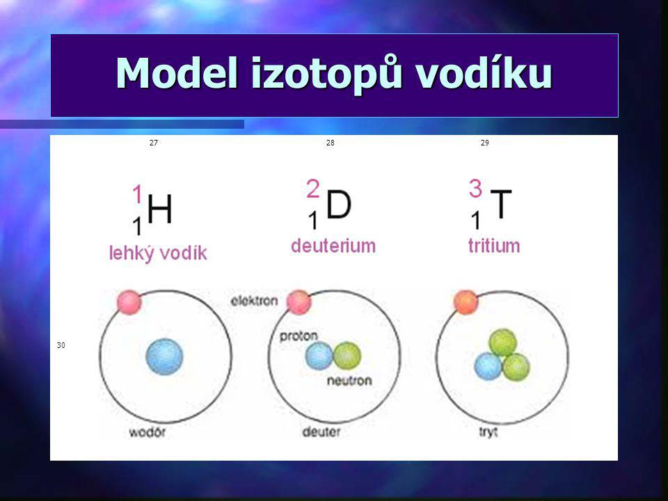 Model izotopů vodíku 27 28 29 30