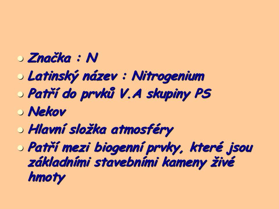 Značka : N Značka : N Latinský název : Nitrogenium Latinský název : Nitrogenium Patří do prvků V.A skupiny PS Patří do prvků V.A skupiny PS Nekov Nekov Hlavní složka atmosféry Hlavní složka atmosféry Patří mezi biogenní prvky, které jsou základními stavebními kameny živé hmoty Patří mezi biogenní prvky, které jsou základními stavebními kameny živé hmoty