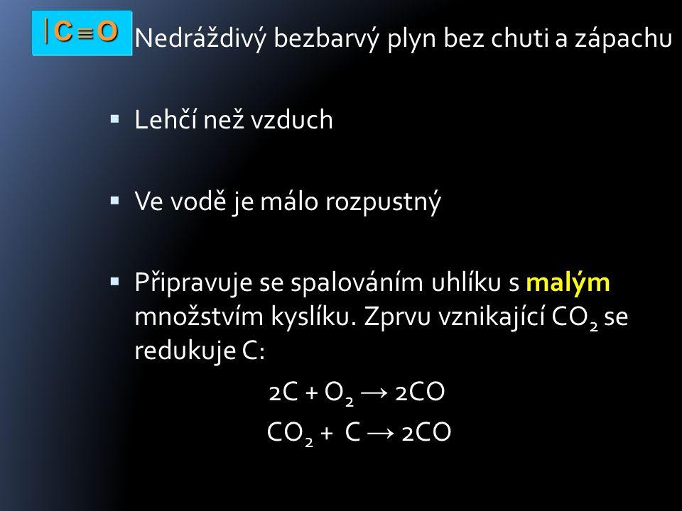 Nedráždivý bezbarvý plyn bez chuti a zápachu  Lehčí než vzduch  Ve vodě je málo rozpustný  Připravuje se spalováním uhlíku s malým množstvím kyslíku.