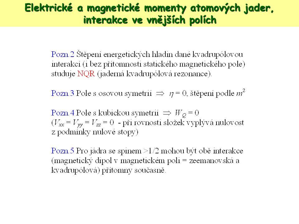 Elektrické a magnetické momenty atomových jader, interakce ve vnějších polích