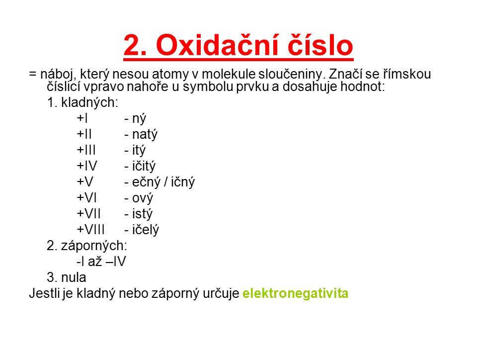 2. Oxidační číslo = náboj, který nesou atomy v molekule sloučeniny. Značí se římskou číslicí vpravo nahoře u symbolu prvku a dosahuje hodnot: 1. kladn