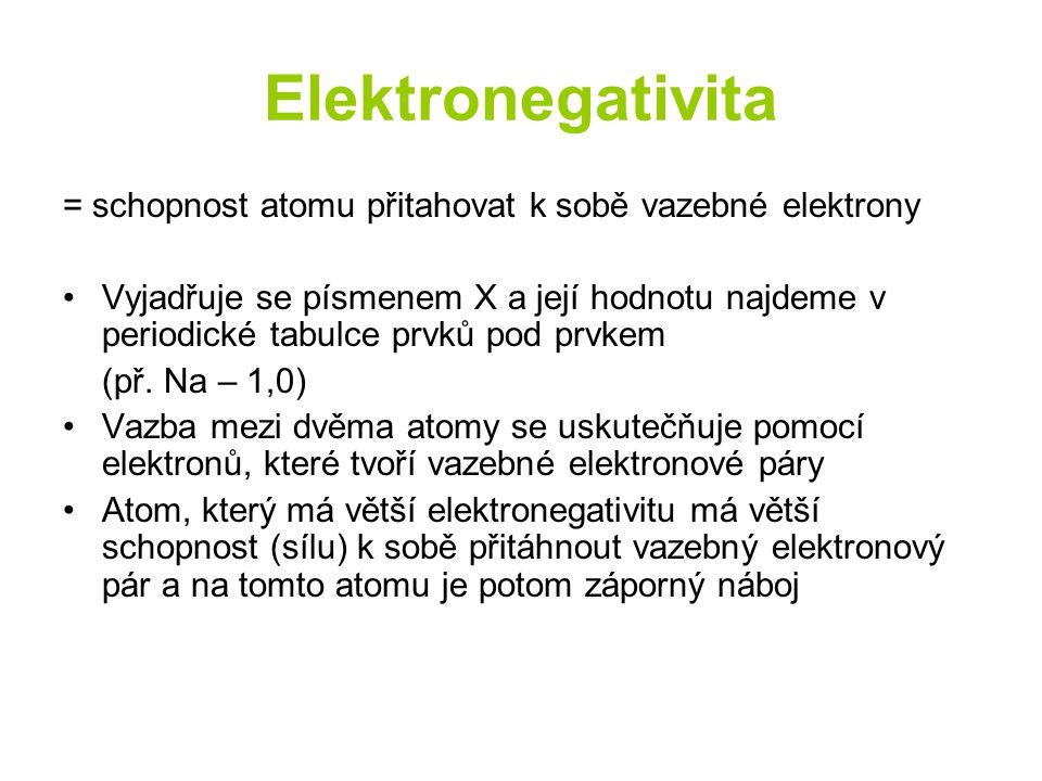 Elektronegativita = schopnost atomu přitahovat k sobě vazebné elektrony Vyjadřuje se písmenem X a její hodnotu najdeme v periodické tabulce prvků pod