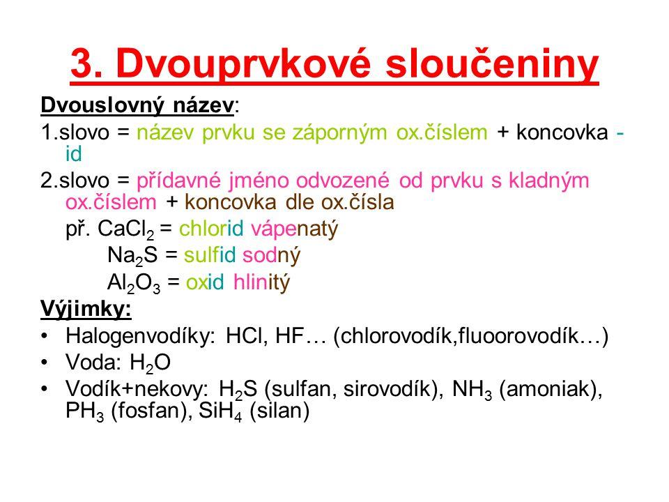 3. Dvouprvkové sloučeniny Dvouslovný název: 1.slovo = název prvku se záporným ox.číslem + koncovka - id 2.slovo = přídavné jméno odvozené od prvku s k