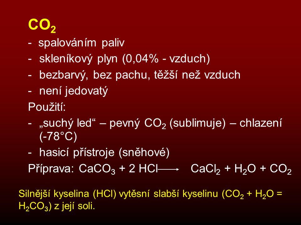 """CO 2 - spalováním paliv -skleníkový plyn (0,04% - vzduch) -bezbarvý, bez pachu, těžší než vzduch -není jedovatý Použití: -""""suchý led"""" – pevný CO 2 (su"""