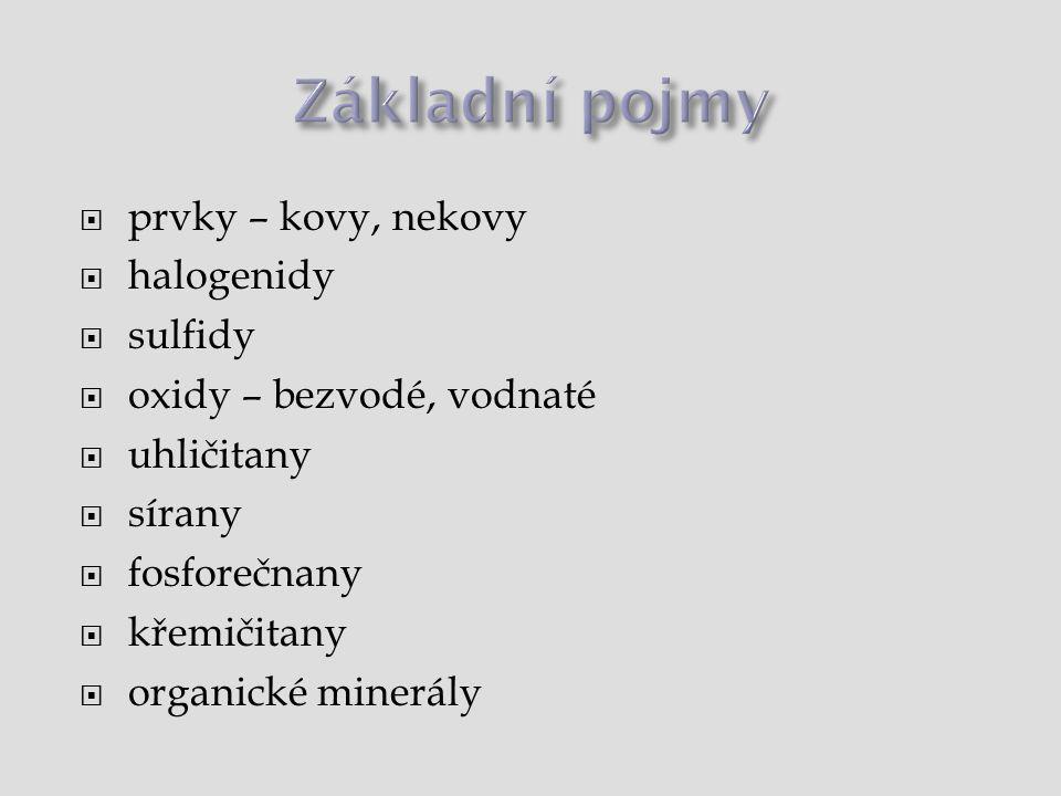  prvky – kovy, nekovy  halogenidy  sulfidy  oxidy – bezvodé, vodnaté  uhličitany  sírany  fosforečnany  křemičitany  organické minerály