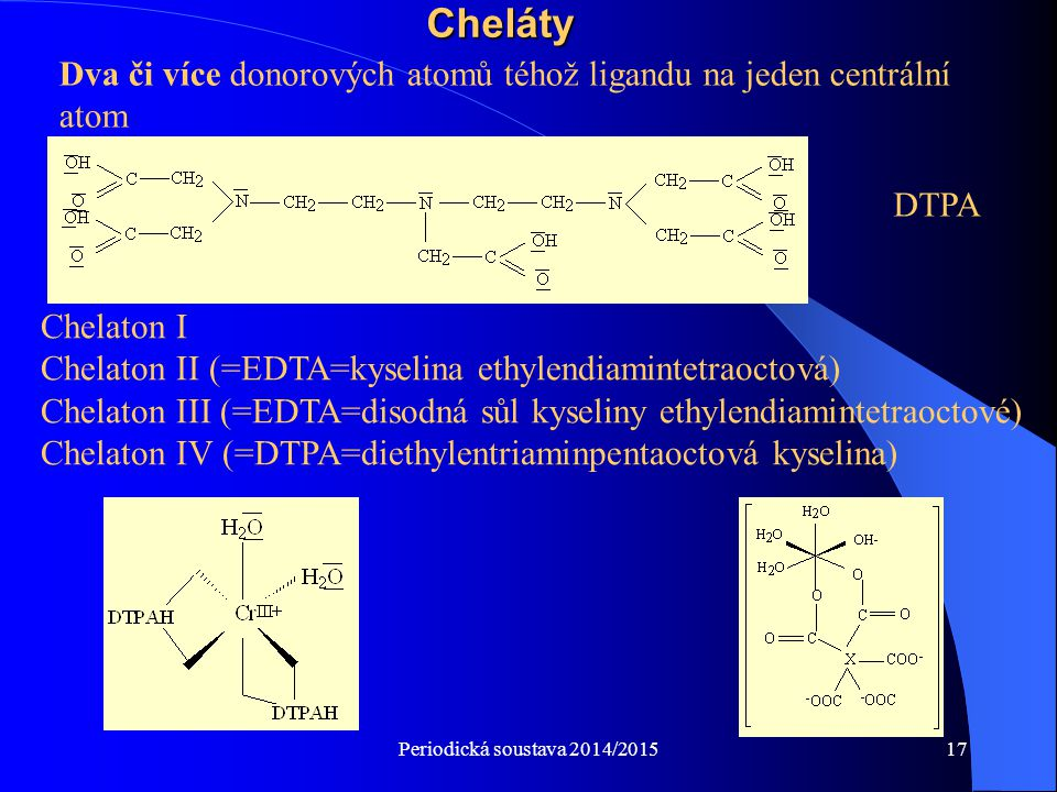 Periodická soustava 2014/201517Cheláty Chelaton I Chelaton II (=EDTA=kyselina ethylendiamintetraoctová) Chelaton III (=EDTA=disodná sůl kyseliny ethyl