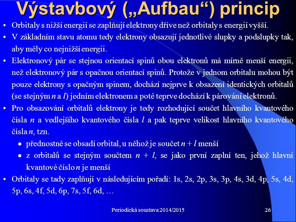 """Periodická soustava 2014/201526 Výstavbový (""""Aufbau"""") princip Orbitaly s nižší energií se zaplňují elektrony dříve než orbitaly s energií vyšší. V zák"""
