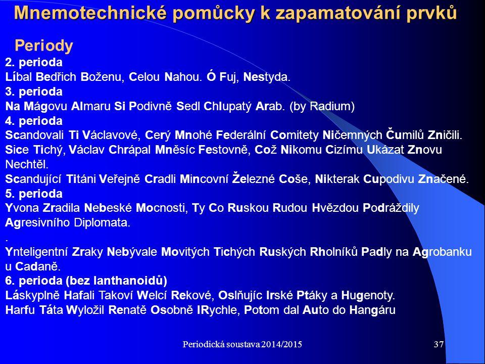 Periodická soustava 2014/201537 Mnemotechnické pomůcky k zapamatování prvků 2. perioda Líbal Bedřich Boženu, Celou Nahou. Ó Fuj, Nestyda. 3. perioda N