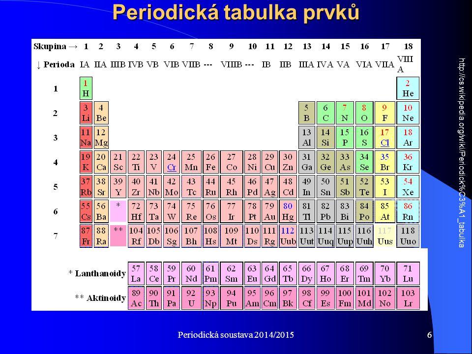 Periodická soustava 2014/20157 Periodická tabulka prvků Periodická tabulka prvků je uspořádáním všech chemických prvků v podobě tabulky podle jejich rostoucího atomového čísla a seskupené podle jejich cyklicky se opakujících podobných vlastností.